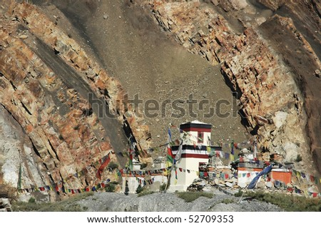 Tibetan temple in Himalayas. Mustang. Nepal. - stock photo