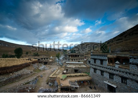 Tibetan village in the morning