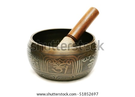 Tibetian singing bowl isolated on white - stock photo