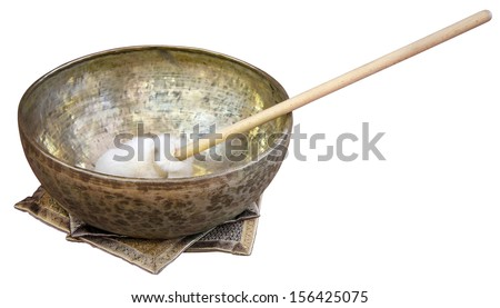Tibetian singing bowl used for therapeutic purposes  - stock photo