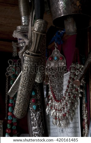 Tibetian traditional folklore  equipment - dagger and belt - stock photo