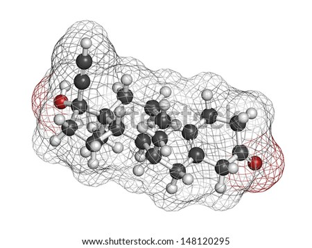 Tibolone endometriosis drug, chemical structure. Atoms are represented as spheres with conventional color coding: hydrogen (white), carbon (grey), oxygen (red)