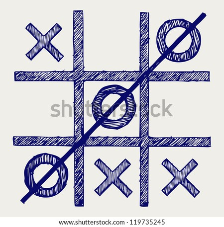 Tic Tac Toe Doodle Style Raster Version Stock Photo
