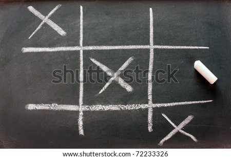 tic tac toe on wooden blackboard - stock photo