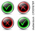 Tick and cross button set with glowing symbols - stock photo