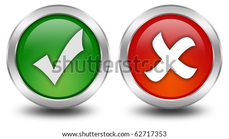 Tick and cross buttons - stock photo