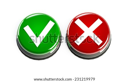 Tick and cross buttons, yes no marks green an red. 3D render - stock photo