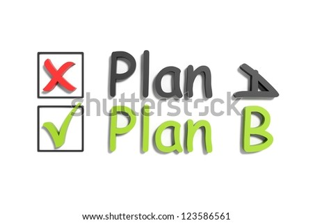 Tick and cross plan a and b on a white background - stock photo