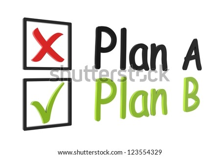 Tick and cross plan a and b on a white isolated background - stock photo