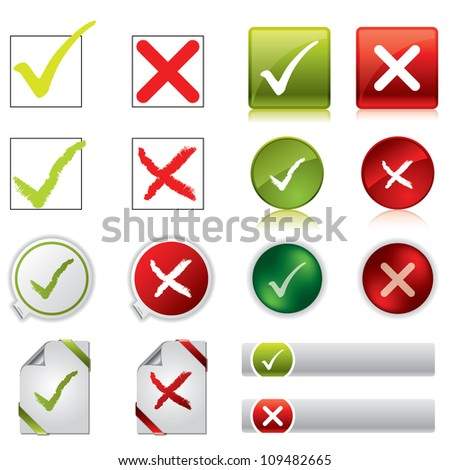 Tick and cross stickers, buttons, and symbols - stock photo