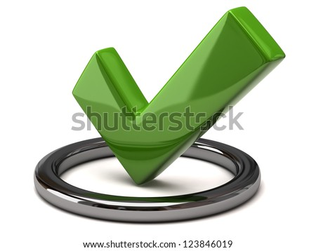 Tick icon - green tick mark in silver circle, 3d image - stock photo