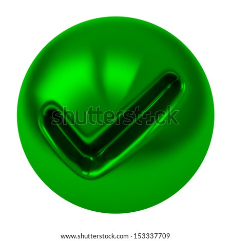 Tick icon - green tick mark on green button, 3d image  - stock photo