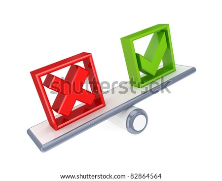Tick mark and Cross mark icons on a simple scales. 3d rendered. Isolated on white background.