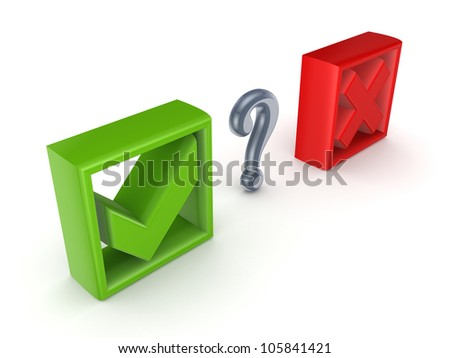 Tick mark, cross mark and query sign.Isolated on white background.3d rendered. - stock photo