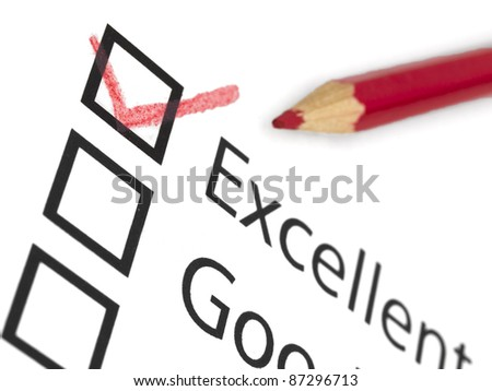 tick on excellent - stock photo