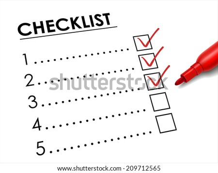 tick placed in check box with red pen over check list  - stock photo