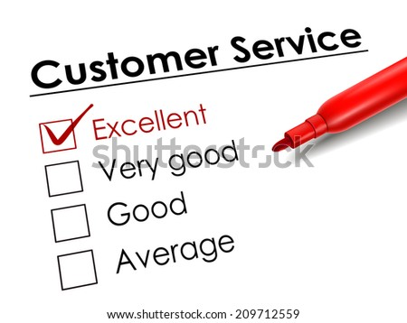 tick placed in excellent check box with red pen over customer service questionnaire