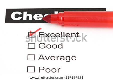 Tick placed in excellent checkbox on customer