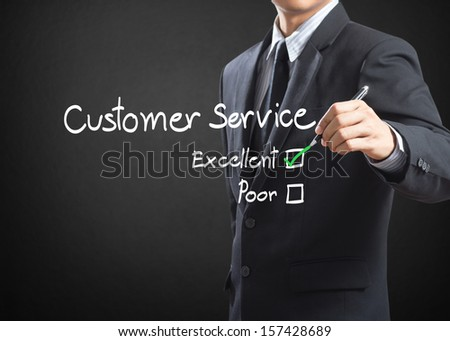 Tick placed in excellent checkbox on customer service  - stock photo