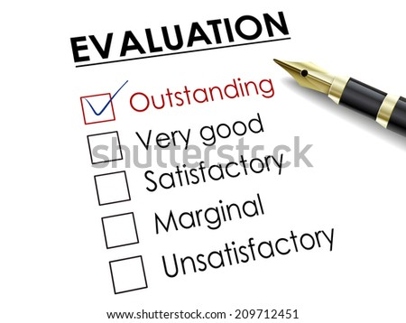 tick placed in outstanding check box with fountain pen over evaluation survey