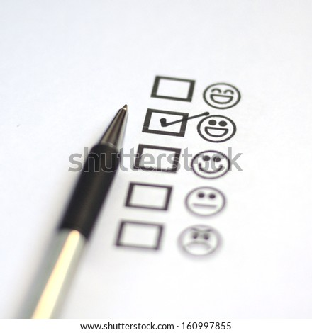 Tick placed in very good - stock photo