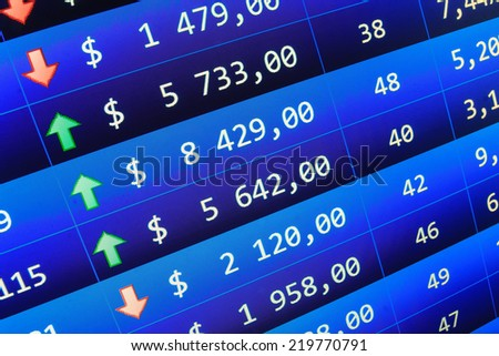 Ticker board. Financial data stock exchange. Ticker board blue. Stock share prices. Price movement. Real time stock exchange. Live online screen. Stock data live on-line. Dollars table computer.   - stock photo