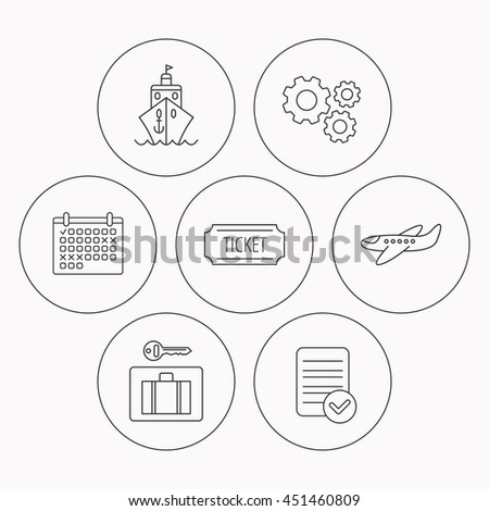 Ticket, cruise ship and airplane icons. Luggage security linear sign. Check file, calendar and cogwheel icons.  - stock photo