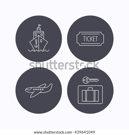 Ticket, cruise ship and airplane icons. Luggage security linear sign. Flat icons in circle buttons on white background.  - stock photo