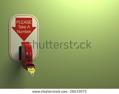 Ticket dispenser on dull green background with copy space at right. - stock photo