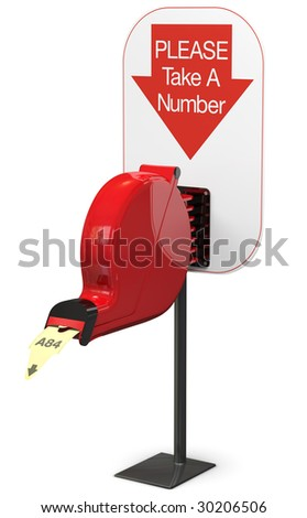 Ticket dispenser on support stand. Isolated on white; includes pro clipping path. - stock photo