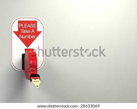 Ticket dispenser on white background with copy space at left. - stock photo