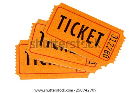 Ticket : Group of three orange movie or raffle tickets isolated on white background.