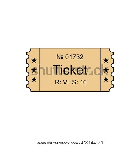Ticket icon in the outline style of illustration. Ticket stub isolated on a background. Tickets concept icon.