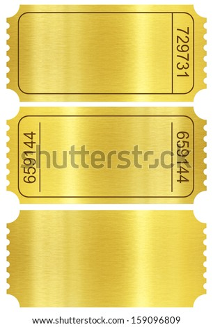 Ticket set. Golden ticket templates set isolated on white with clipping path included. - stock photo