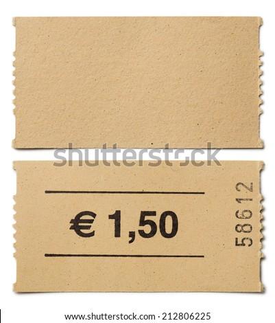ticket stub isolated on white - stock photo