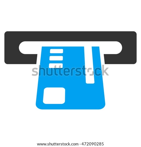 Ticket Terminal icon. Glyph style is bicolor flat iconic symbol with rounded angles, blue and gray colors, white background.