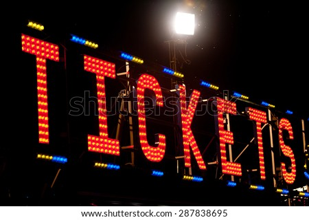 tickets classic electric sign like the ones used in circus or old fashioned shops - stock photo
