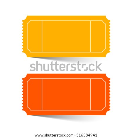 Tickets Set - Red and Orange Illustration Isolated on White - stock photo
