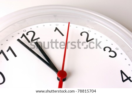 ticking clock seconds nearly 12 pm or 12am
