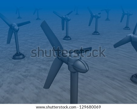 Tidal wave turbines on the bottom of the sea. - stock photo