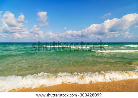 tide sea beach summer nature landscape tropical vacation - stock photo