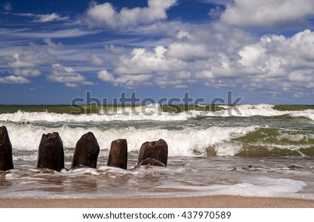 Tide wave smashes through breakwater, Russia, Baltic - stock photo