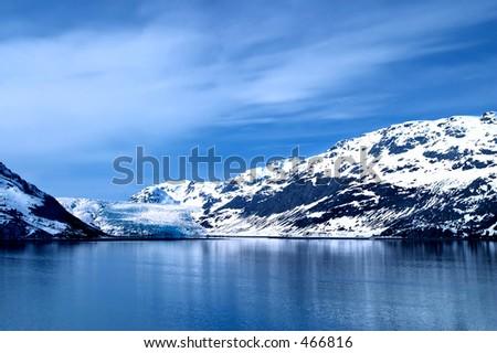 Tidewater glacier in Glacier Bay, Alaska. - stock photo