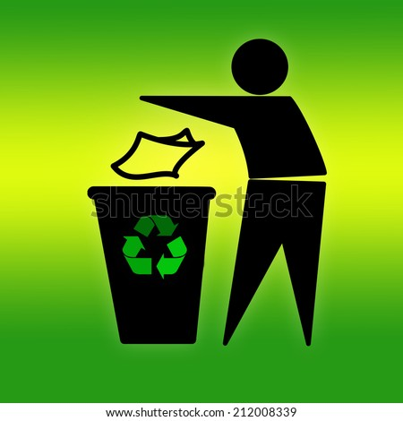 Tidyman throwing waste in recycling bin on green - stock photo