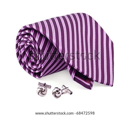 Tie and cuff links on the white - stock photo