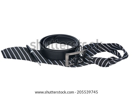 Tie belt white background - stock photo