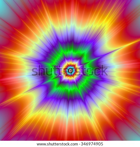 Tie Dye Explosion / A digital abstract fractal image with a colorful psychedelic explosion design in red, green, violet and yellow. - stock photo