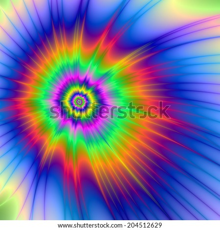 Tie Dye Fireball / A digital abstract fractal image with a tie dye design in blue, orange, green, pink and yellow.
