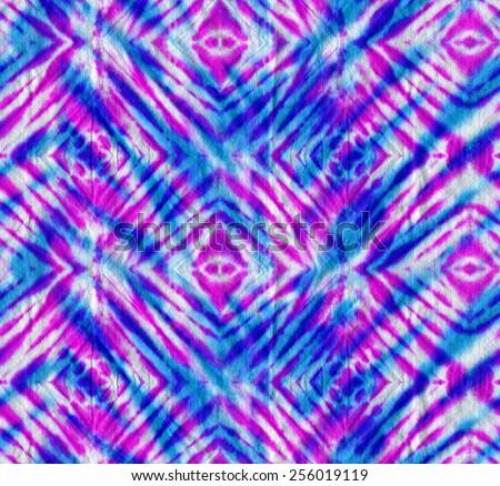 Tie Dye Seamless Pattern Diagonal Checks Stock #1: stock photo tie dye pattern seamless diagonal checks motif layered neon colors hand dyed
