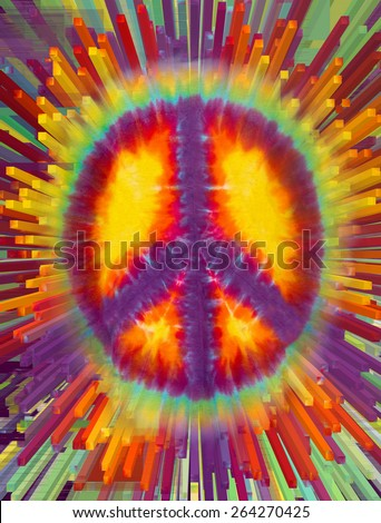 Tie Dye Peace Sign Extrusion - stock photo